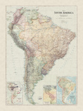 Map of South America Giclee Print by  The Vintage Collection