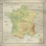 Carte de France Giclee Print by  The Vintage Collection