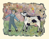 Boy and Cow Giclee Print by Barbara Olsen