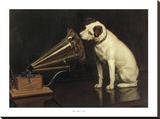 His Master's Voice Stretched Canvas Print by Francis Barraud