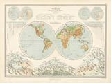 World Map - Distribution of Lord and Water Giclee Print by  The Vintage Collection