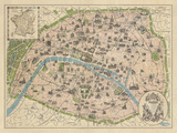 Vintage Paris Map Giclee Print by  The Vintage Collection