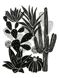 Monochrome Cacti Poster by Myriam Tebbakha