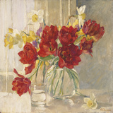 Red Tulips and Daffodils Giclee Print by Valeriy Chuikov