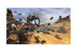 Millenium Falcon Flying Low in the Desert Fighting Off Tie Fighters Plakat av Stocktrek Images,