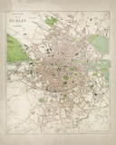Map of Dublin Giclée-tryk af  The Vintage Collection