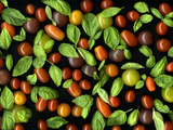Organic Tomatoes and Basil Isolated Photographic Print by Christian Slanec