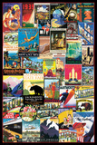 Vintage US Travel Ads Collage Poster