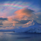 Mother of Pearl Clouds, Nacreous Clouds over Snow Covered Iceberg, Antarctic Peninsula, Antarctica Photographic Print by Harald Bauhofer