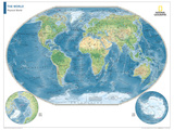 2014 Physical World Map - National Geographic Atlas of the World, 10th Edition Poster av  National Geographic Maps