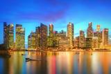 Singapore Skyline and View of Skyscrapers on Marina Bay Photographic Print by Hanna Slavinska