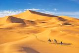 Morocco - Tourists Ride on Camels, Erg Chebbi Desert Near Merzouga, Sahara Photographic Print by Jan Wlodarczyk