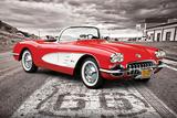 Chevrolet: Corvette- Classic Red 1959 On Route 66 Plakater