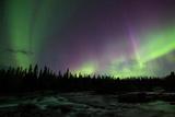 Northern Lights or Aurora Borealis over River, Kvikkjokk, Lapland, Sweden Photographic Print by Klaus-Peter Wolf