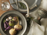 Overhead View of Turnips, Eggplants, Artichokes and Garlic in Bowl, Studio Shot Photographic Print by Geoff Cannon