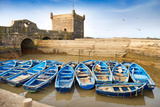 Blue Fishing Boats in the Harbour of Essaouira, Morocco Photographic Print by Jan Wlodarczyk