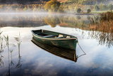 A Boat Moored in a Sheltered Bay on Loch Ard Photographic Print by Richard Burdon