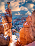 Snow on Hoodoos. Bryce Canyon National Park, Utah Photographic Print by Dennis Frates