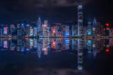 Hong Kong Reflection Cityscape Photographic Print by  Manjik Photography