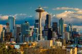 Downtown Skyline with Space Needle at Sunset, Seattle, Washington, USA Photographic Print by Stefano Politi Markovina