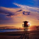 Cullera Playa Los Olivos Beach Sunset in Mediterranean Valencia at Spain Photographic Print by Antonio Balaguer Soler