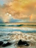 Maui Coast with Waves and Rainbow with Light and Rain on Molokini. Hawaii Photographic Print by Dennis Frates