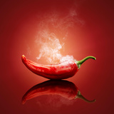 Smoking Hot Red Chilli with Reflection Photographic Print by Johan Swanepoel