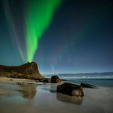 Northern Lights Fill Sky over Myrland Beach, Flakstadoy, Lofoten Islands, Norway Photographic Print by Cody Duncan