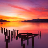 Beautiful Sunset with Colours of Red, Orange and Yellow, over Governors Bay, Looking Photographic Print by  Travellinglight