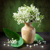 Lily of the Valley Bouquet on the Wooden Table Photographic Print by Valentyn Volkov