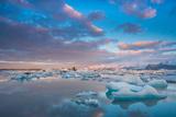 Sunset at Jokulsarlon Lagoon, Vatnajokull National Park, Iceland Photographic Print by John Boyes