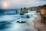Moon Setting in Twelve Apostles Sea Rocks in Hdr Effect Photographic Print by Nora Sahinun