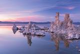 Salt Pillar Formations at Sunset, South Tufa, Mono Lake, California, USA Photographic Print by Adam Burton