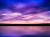 Horizontal Vivid Pink Purple River Sunset with Reflection Horizo Photographic Print by Nickolay Loginov