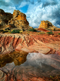 White Pocket with Rain Water Pools. Vermilion Cliffs National Monument, Arizona Photographic Print by Dennis Frates