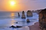 Moonset over Twelve Apostles in Victoria, Australia Photographic Print by Nora Sahinun