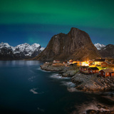 Northern Lights - Aurora Borealis Shine in Sky over Hamnøy, Near Reine, Moskenesøy, Norway Photographic Print by Emma Sampson