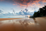Sunrise at Low Tide at Secret Beach. Kauai, Hawaii Photographic Print by Dennis Frates