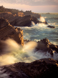 Waves and Setting Sun at Shore Acres State Park, Oregon Photographic Print by Dennis Frates