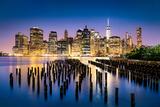 New York City - Beautiful Sunrise over Manhattan with Manhattan and Brooklyn Bridge Usa Photographic Print by Beatrice Preve