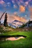 Small Pond Reflecting Eagle Cap Mountain and Sunset Clouds. Eagle Cap Wilderness, Oregon Photographic Print by Dennis Frates