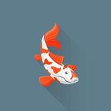 Flat Design White Orange Red Japanese Carp Koi Illustration Photographic Print by  Trikona