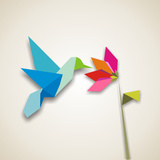 Origami Pastel Colors Hummingbird Vector File Available Photographic Print by Cienpies Design