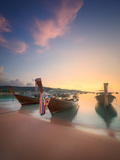 Beautiful Image of Sunrise with Colorful Sky and Longtail Boat on the Sea Tropical Beach. Thailand Photographic Print by Hanna Slavinska