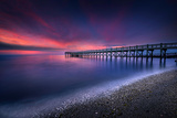 Walnut Beach in Stratford Connecticut inMorning FacingLong Pier During Long Exposure Photographic Print by Elena Paraskeva