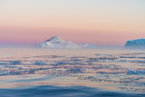 Stunning Iceberg Landscape with Midnight Sun Colors at Mouth ofIcefjord, Near Ilulissat, Greenland Photographic Print by Luis Leamus