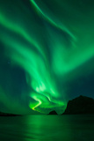 Northern Lights - Aurora Borealis Shine in Sky over Vik Beach, Vestvågøy, Lofoten Islands, Norway Photographic Print by Emma Sampson