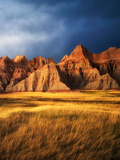 Grass Meadow and Colorful Rocks. Badlands National Park, South Dakota Photographic Print by Dennis Frates