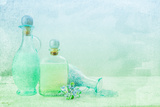 Bath Oil and Salt on a Textured Background Photographic Print by  Anyka