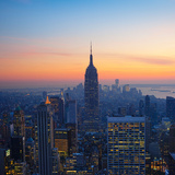 Empire State Building at Sunset from Top of the Rock Observatory Photographic Print by Andria Patino